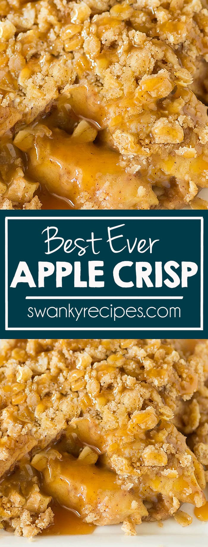 Best Ever Caramel Apple Crisp! Fresh apples baked in the BEST apple crisp topping! The best apple dessert this fall!