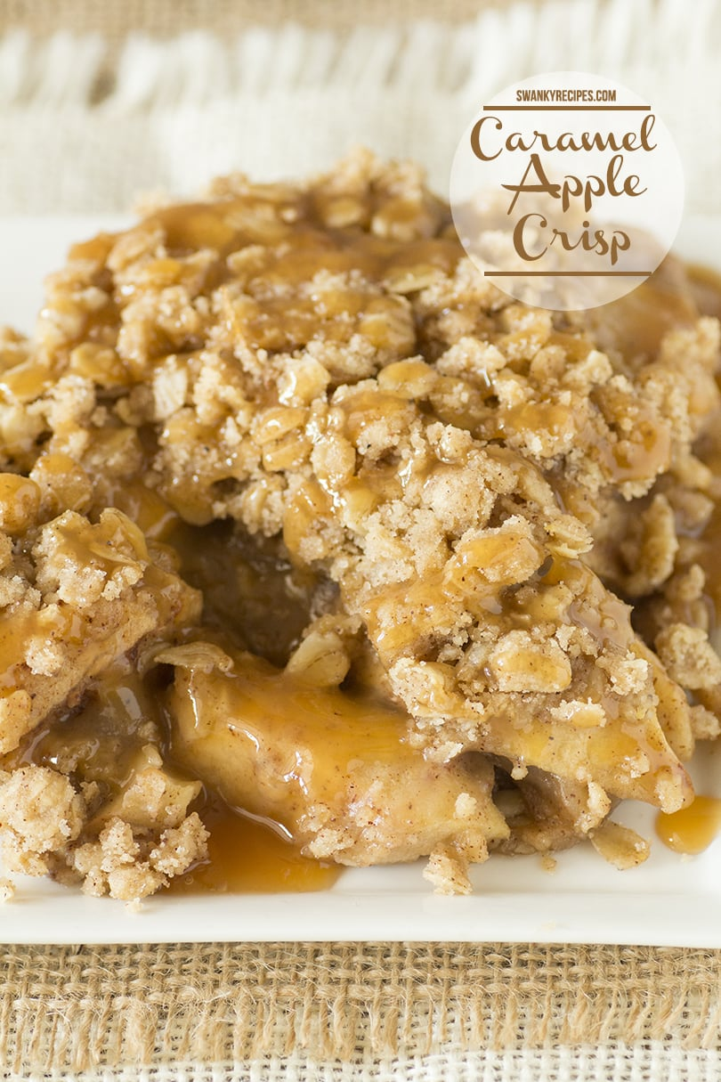 Caramel Apple Crisp made with a buttery oat crumble topping. A classic fall apple dessert recipe.