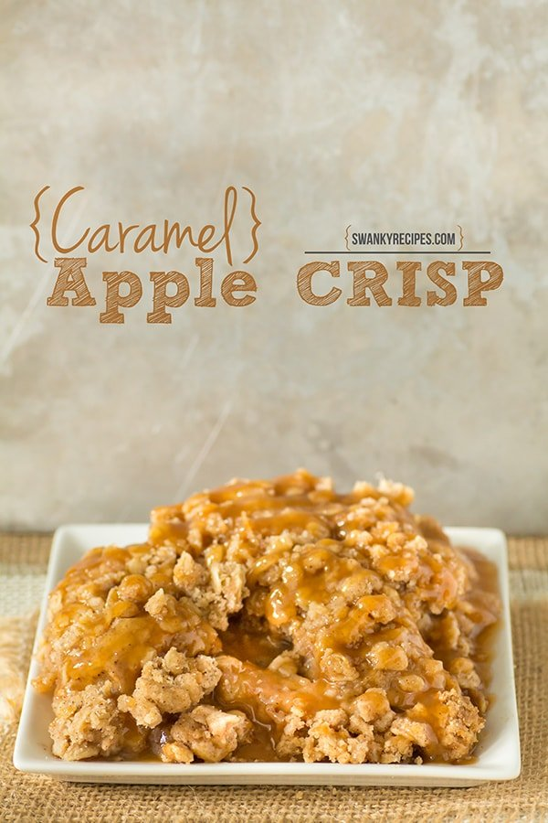 Caramel Apple Crisp with caramel sauce drizzled over a warm butter and oat topping. Fresh apple filling made from scratch with a double oat crisp.