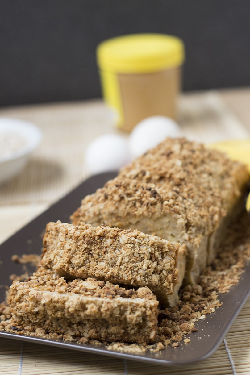 Banana Bread with Peanut Butter Streusel Topping