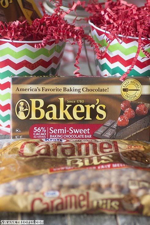 Caramel Chocolate Sugar Cookies - The ultimate soft and chewy sugar cookie with caramel and chocolate + holiday cookie mix jars gift idea #TasteTheSeason