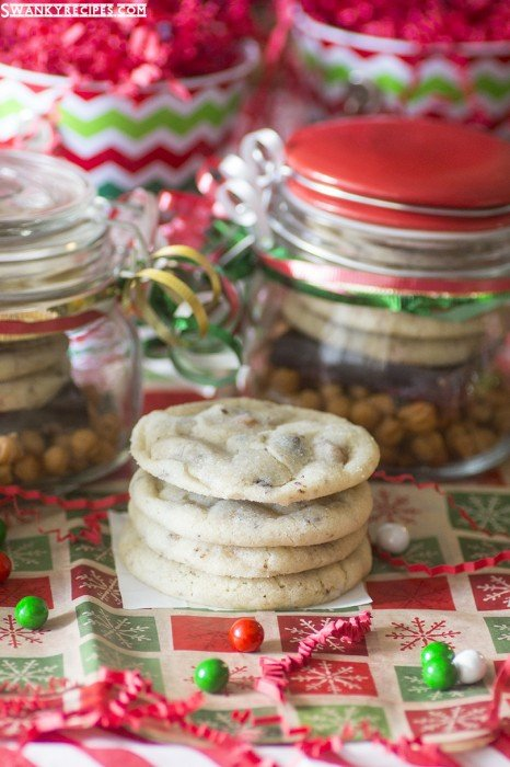 Caramel Chocolate Sugar Cookies - The ultimate soft and chewy sugar cookie with caramel and chocolate + holiday cookie mix jars gift idea