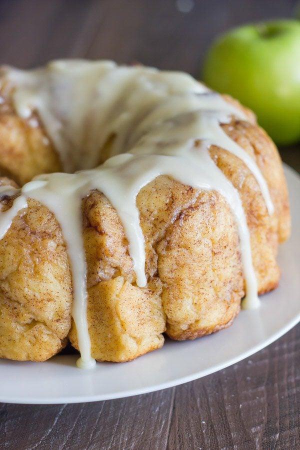 Glazed Apple Cinnamon Pull Apart Bread