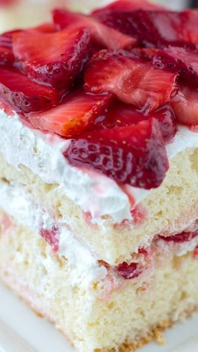 Nothing says Easter dessert more than STRAWBERRY SHORTCAKE. A classicly moist white cake with strawberries and cream stuffed between the layers. Your family will devour this fresh fruit cake. It's even better the second day. Plus, this cake can be made into a single layer and served with fresh whipped cream and strawberries.