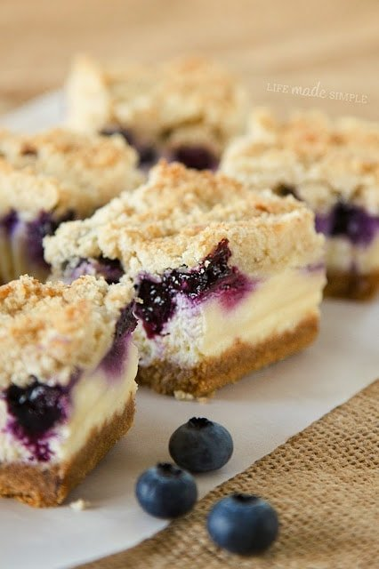 Blueberry Crumble Cheesecake Cookie Bars