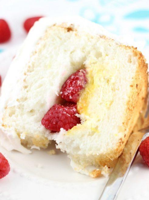 Raspberry Lemon Angel Food Cake