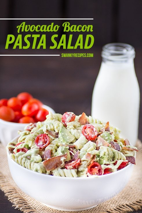 Avocado Bacon Pasta Salad - Every cookout deserves a star pasta salad. This pasta dish is loaded with avocado, tomatoes and bacon that's welcome at any cookout.