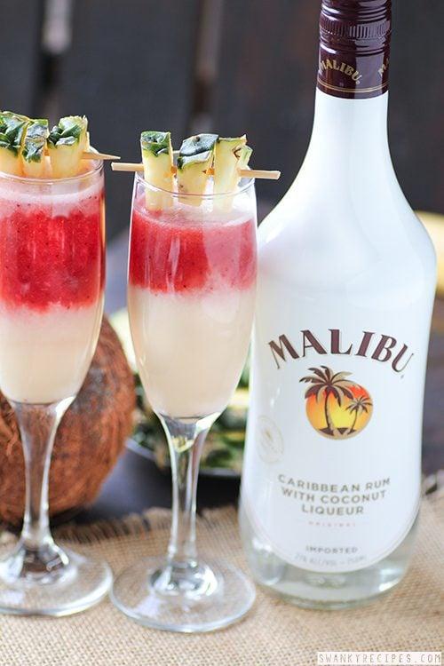 Lava Flow Cocktail with Malibu Rum - Swanky Recipes - Simple tasty