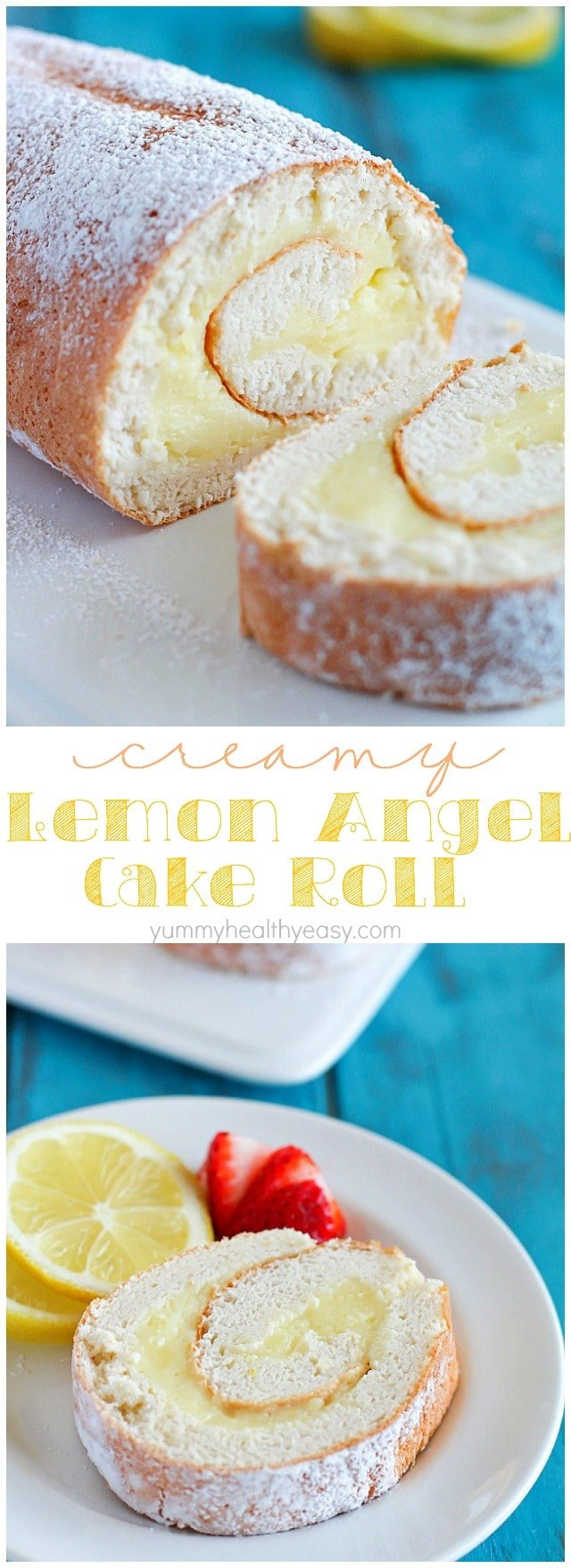 Lemon Cream Angel Cake Roll