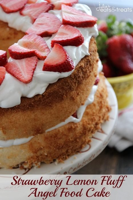 Strawberry Lemon Angel Food Cake