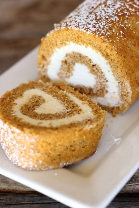 Pumpkin Roll Cake with Cream Cheese Frosting