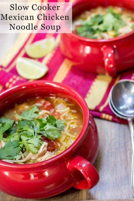 Slow Cooker Mexican Chicken Noodle Soup