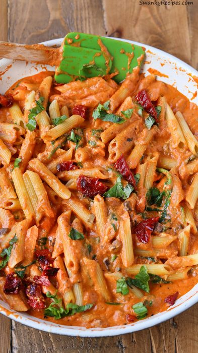 Cheesy Mozzarella Penne Rosa Pasta With Sun Dried Tomatoes Swanky Recipes Simple Tasty Food