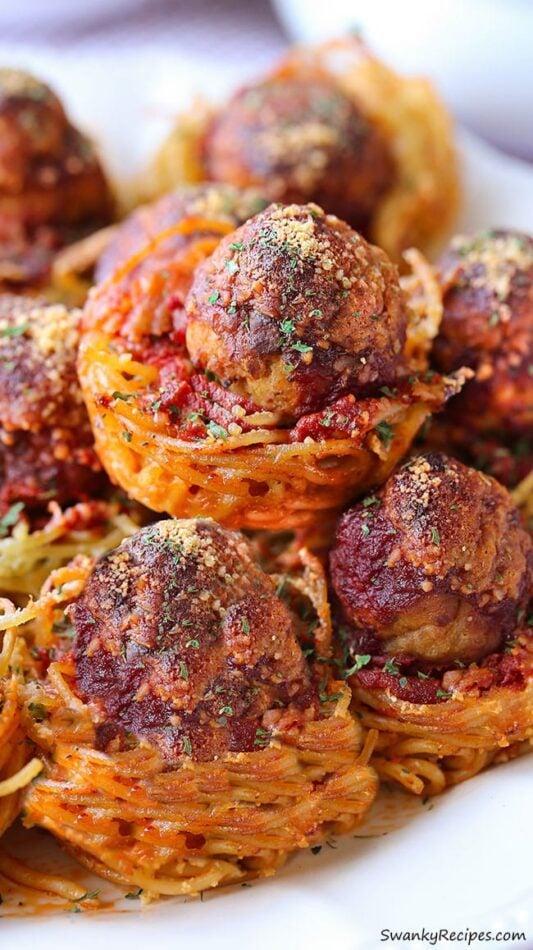 Spaghetti Meatball Muffins