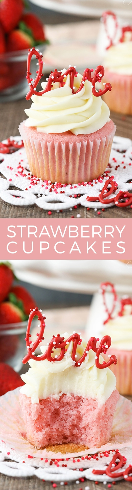 Frosted Strawberry Cupcakes