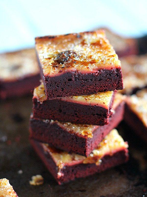 Red Velvet Creme Brulee Brownies