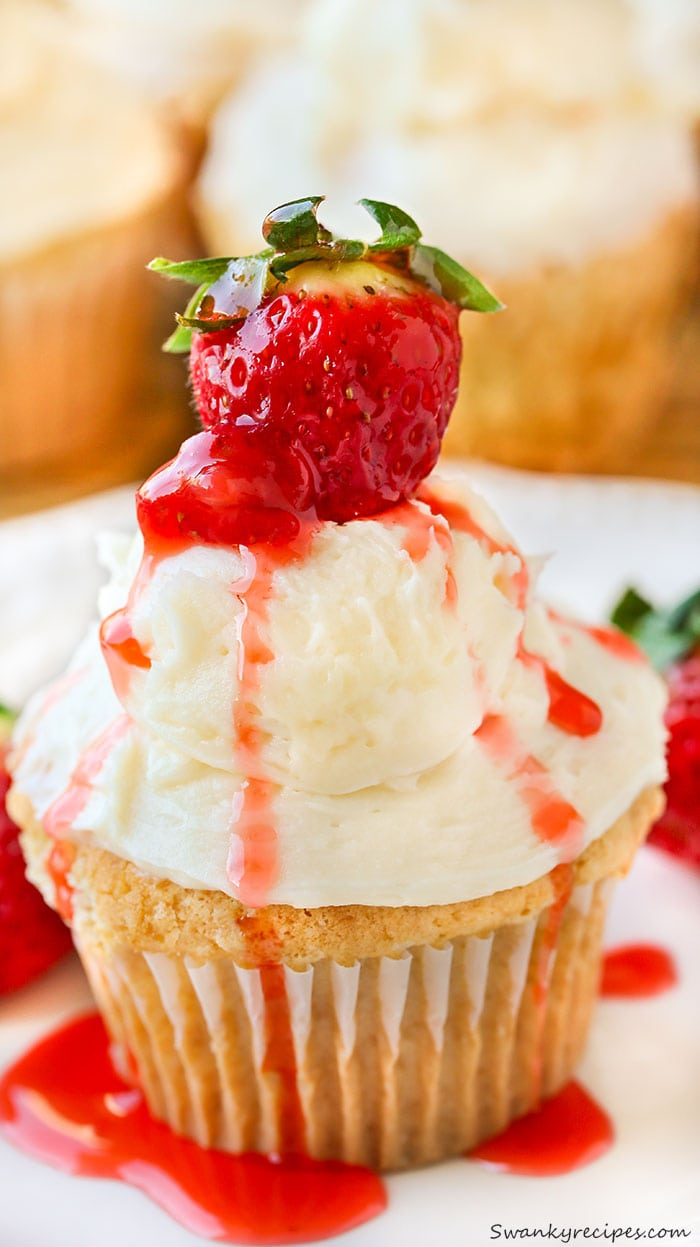 Strawberry Shortcake Stuffed Cupcakes