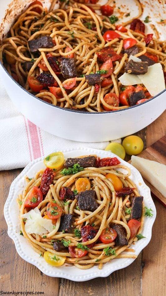 One Pot Sun-Dried Tomato and Steak Pasta