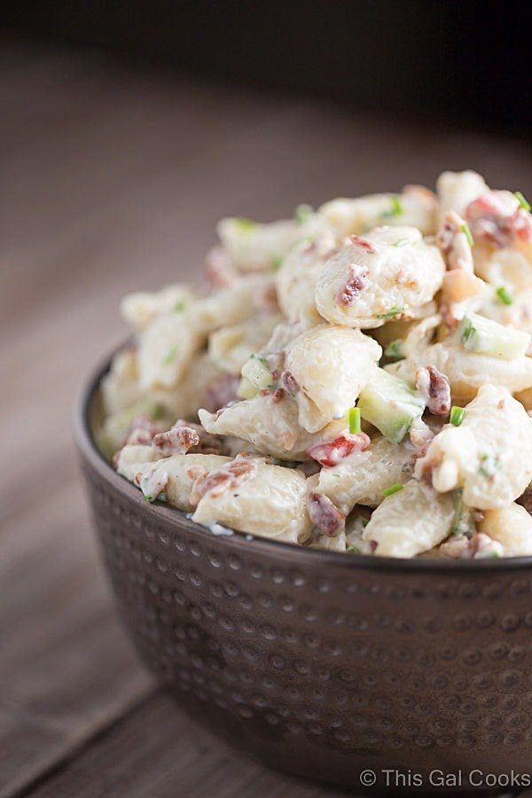 Bacon Ranch Pasta Salad - A light and refreshing Bacon Ranch Pasta Salad made with small pasta shells. If you're a bacon and ranch lover, you'll want to have this recipe handy all year long.