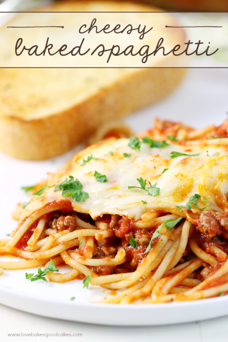 Cheesy Baked Spaghetti - A Cheesy Baked Spaghetti pasta recipe that can few a crowd. This recipe is a dish your family will request over and over again. A new favorite way to make traditional spaghetti with warm, gooey cheese baked on top.