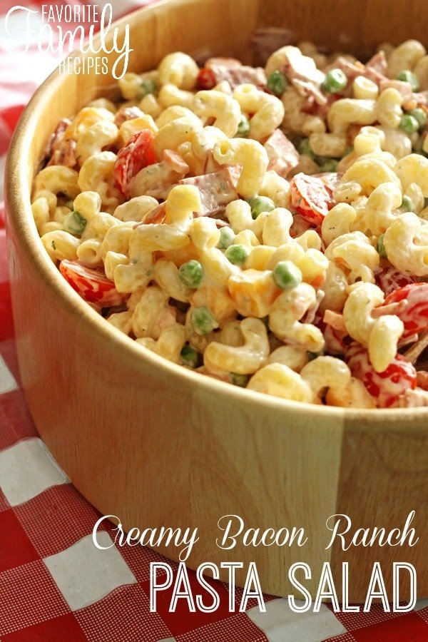Creamy Bacon Ranch Pasta Salad - If you love ranch seasoning, you'll love this Creamy Bacon Ranch Pasta Salad. This pasta dish is the perfect recipe to serve at cookouts or along side any main star dish.