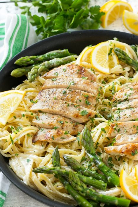 Lemon Asparagus Pasta - If you love asparagus, you'll want to have this Lemon Asparagus Pasta dish at least once a week. With fresh vegetables and herbs, protein packed chicken and pasta, this dish is a favorite we make all the time.