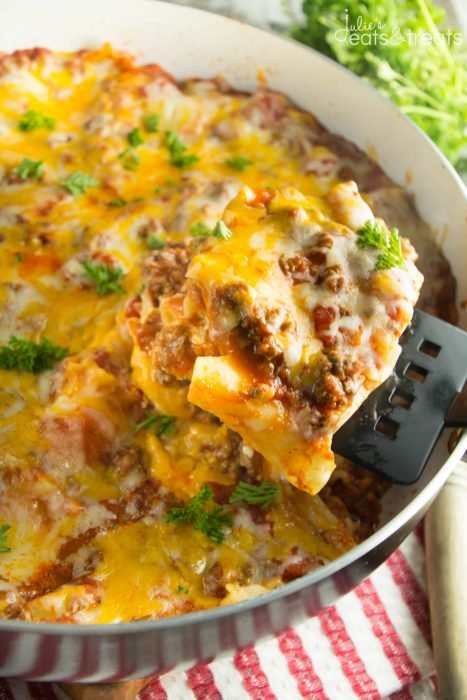 Skillet Lasagna - Our favorite skillet recipes start with classic oven recipes our families have made over and over again. This skillet Lasagna is among our favorites right now. Pair with crusty french bread and good glass of wine.