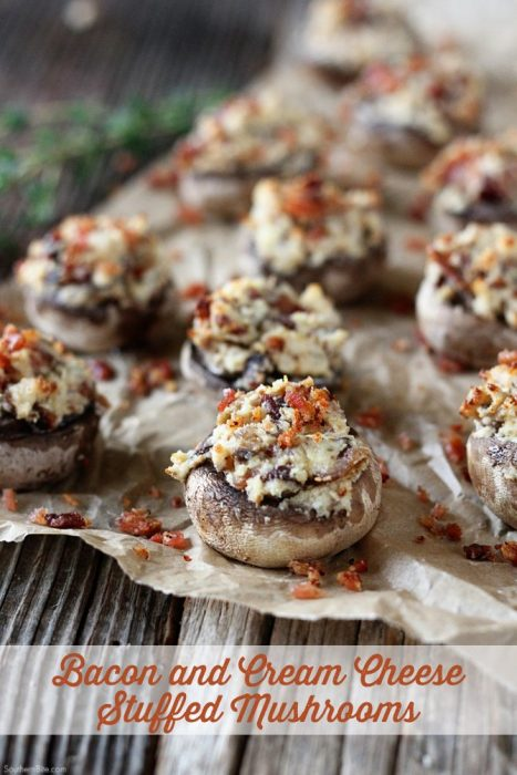 Bacon and Cream Cheese Stuffed Mushrooms - You'll want to make these Bacon and Cream Cheese Mushrooms for an appetizer. These one-bite stuffed mushrooms are packed full of flavor and are always the first thing finished.