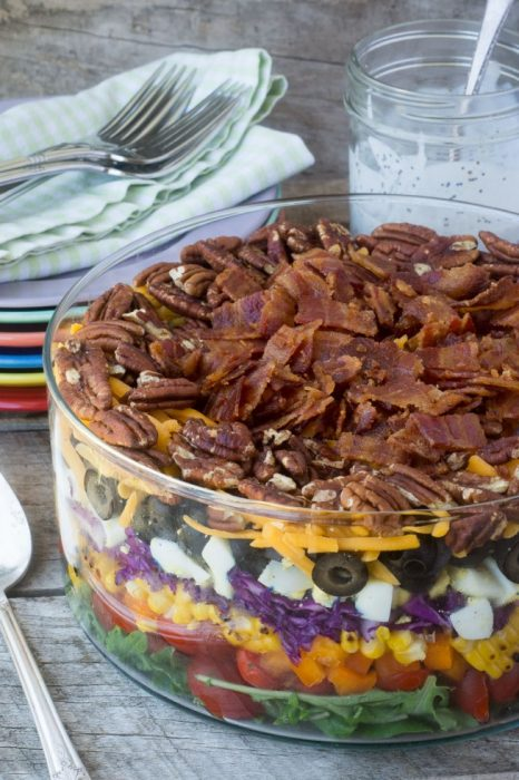 Layered Rainbow Salad - This Layered Rainbow Salad is a great addition to any backyard BBQ. Our family loves to make this for cookouts!