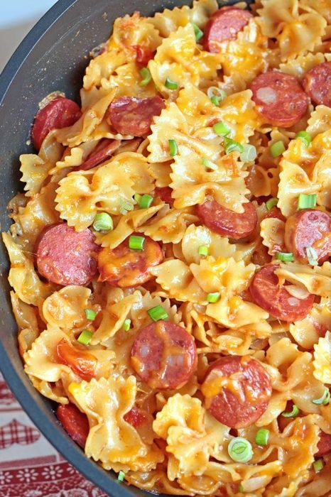 One Pot Kielbasa Pasta - A delicious combination of Kielbasa sausage, cheese and pasta. This food recipe is at the top of our list for new and tasteful recipes to make for the family.