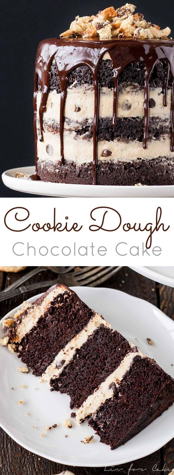 Cookie Dough Chocolate Cake - {RECIPE ABOVE} This decadent layered Cookie Dough Chocolate Cake is the most amazing recipe to make for a crowd. If you love cookie dough as much as we do, you'll want this recipe for special occasions.