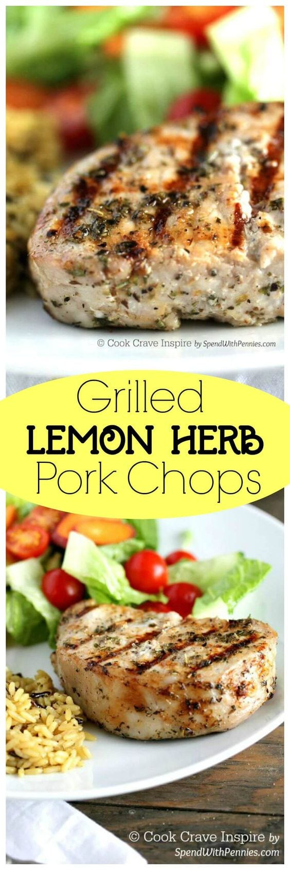 Lemon Herb Grilled Pork Chops - {RECIPE ABOVE} Every cookout needs a good grill recipe. This Lemon Herb Grilled Pork Chops recipe has star worthy seasoning that is delicious and easy to prepare.