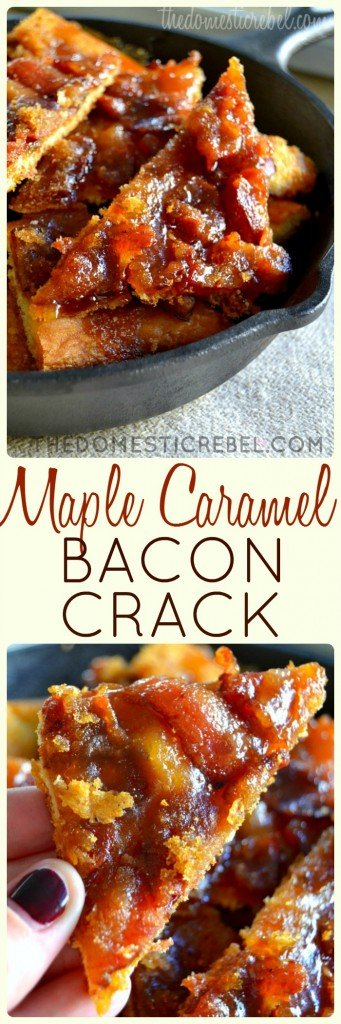 Maple Bacon Crack - {RECIPE ABOVE} Mouthwatering Maple Bacon Crack aka bark. This dessert is insanely delicious. It's both sweet and savory and can be made in large batches. Dad will love this recipe!