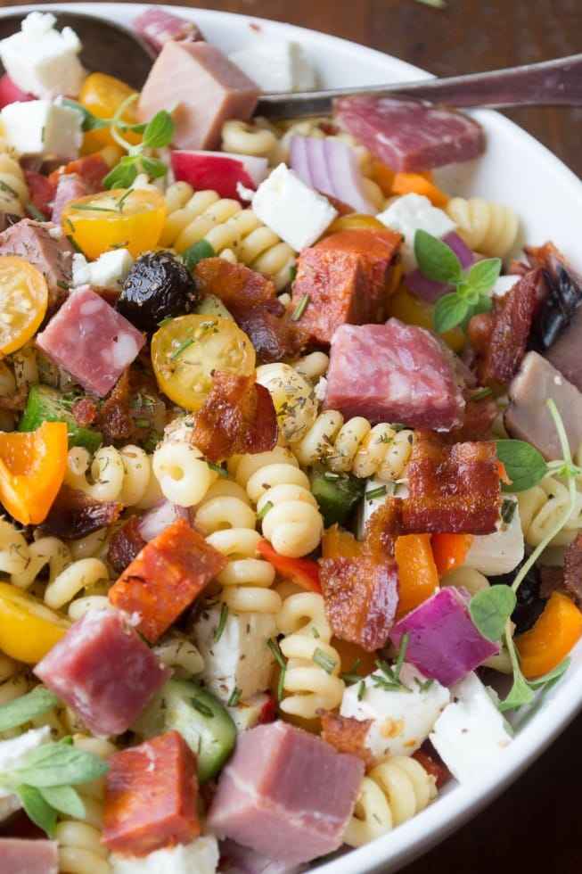 Meat Lovers Pasta Salad - {RECIPE ABOVE} It wouldn't be Father's Day without a cookout and a Meat Lover's Pasta Salad. Be sure to make this insanely easy and delicious dish to celebrate the day.
