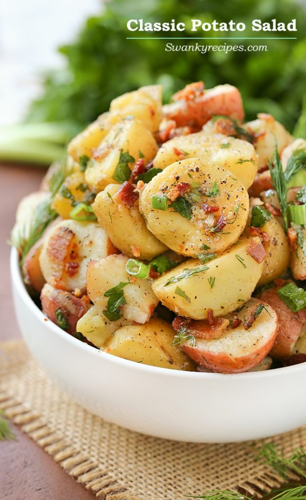 Potato Salad - {RECIPE ABOVE} Every backyard cookout needs homemade Potato Salad. Made with a simple vinaigrette that marinates the potatoes as it sits, this dish is one tasty recipe to serve for summer occasions.