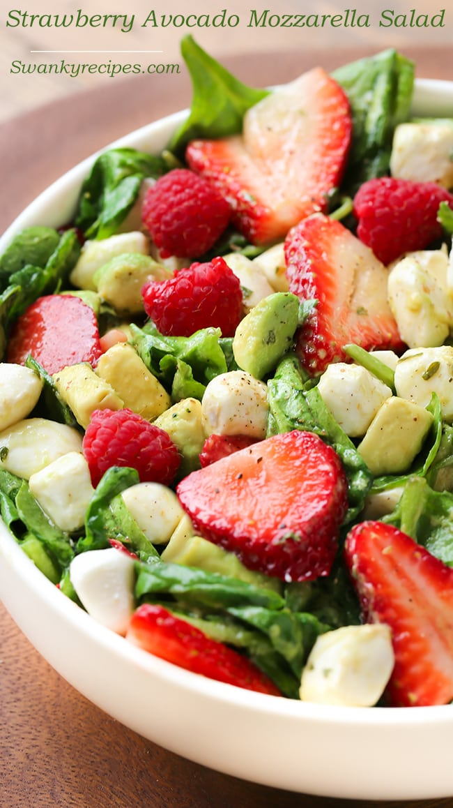 Strawberry Avocado Mozzarella Spinach Salad