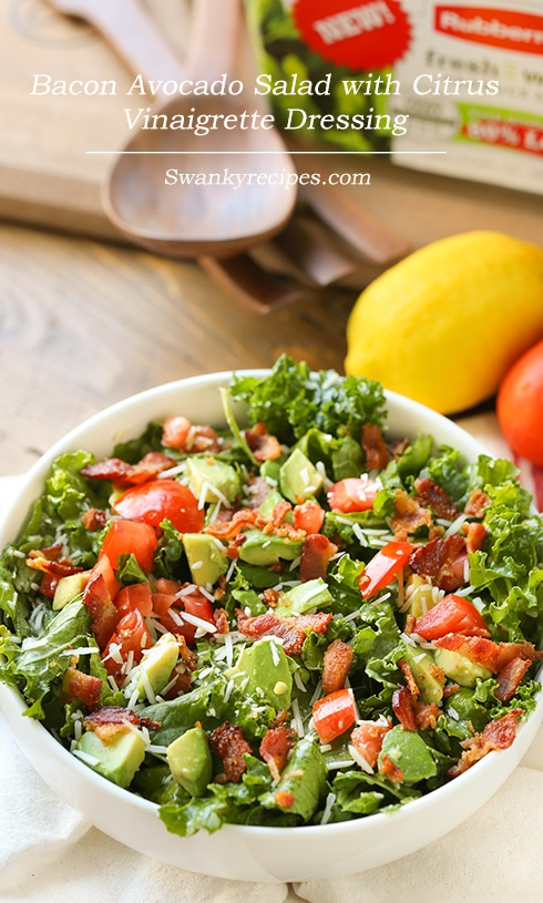 Bacon Avocado Salad with Citrus Vinaigrette Dressing