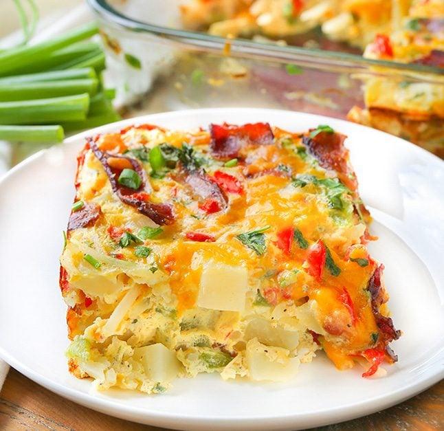Cheesy Potato Bake Recipe: Cheesy Bacon, Potato And Egg Casserole