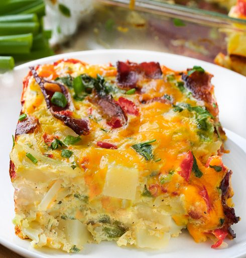 Cheesy Hash Brown Egg Breakfast Casserole with Bacon.