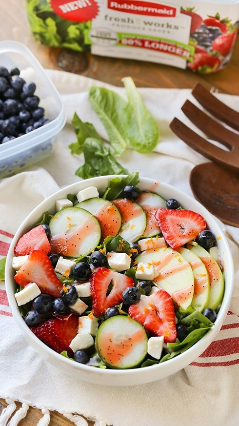 Strawberry Cucumber Mozzarella Salad - A light and refreshing. leafy salad mix with sliced strawberries, cucumbers, apples, blueberries and freshly diced mozzarella. Serve cold with a tangy fruity vinaigrette dressing.