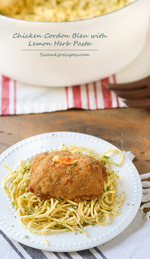 Chicken Cordon Bleu with Lemon Herb Pasta - Buttery lemon citrus and cheese pasta with fresh herbs. Served with Barber Foods Chicken Cordon Bleu. Five minutes of prep and this chicken dinner will be ready within 40 minutes. The pasta is light and refreshing. The chicken is moist and stuffed with ham and cheese.