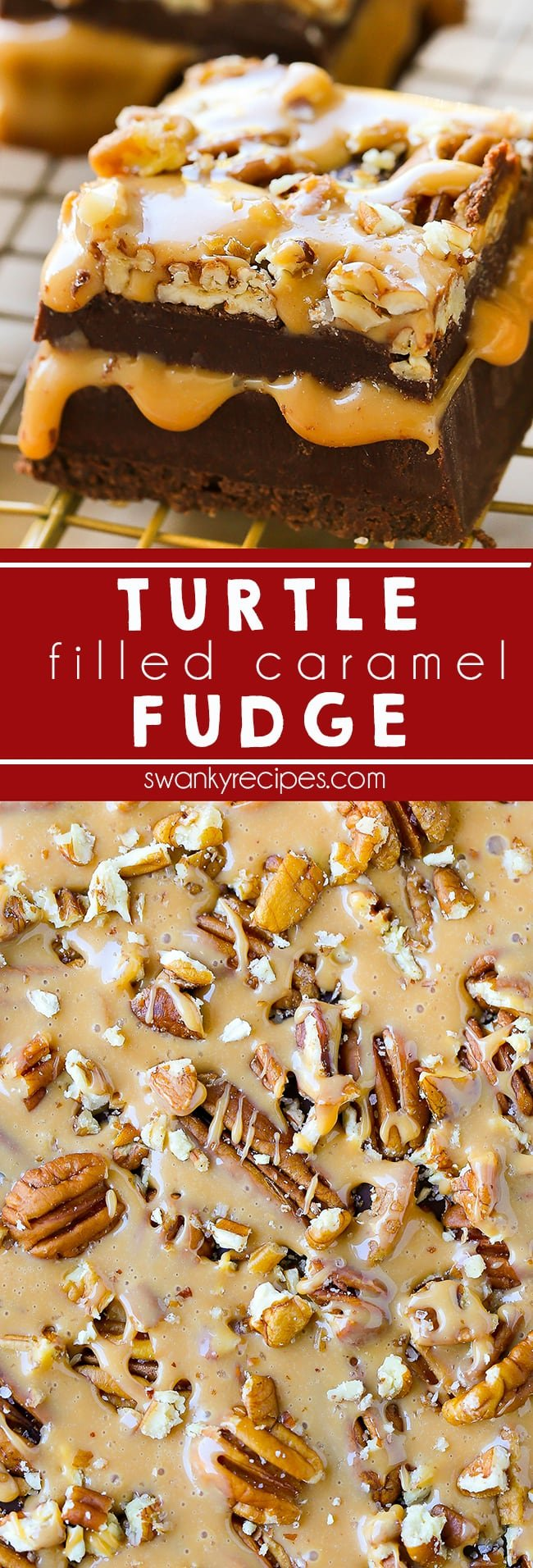 This Turtle Fudge is filled with salted caramel, pecans, and chocolate. A caramel lover's decadent dessert for Christmas. Everyone loves this chocolate fudge recipe for the holidays. Turtle Fudge I Fudge I Christmas Fudge I Christmas Recipes