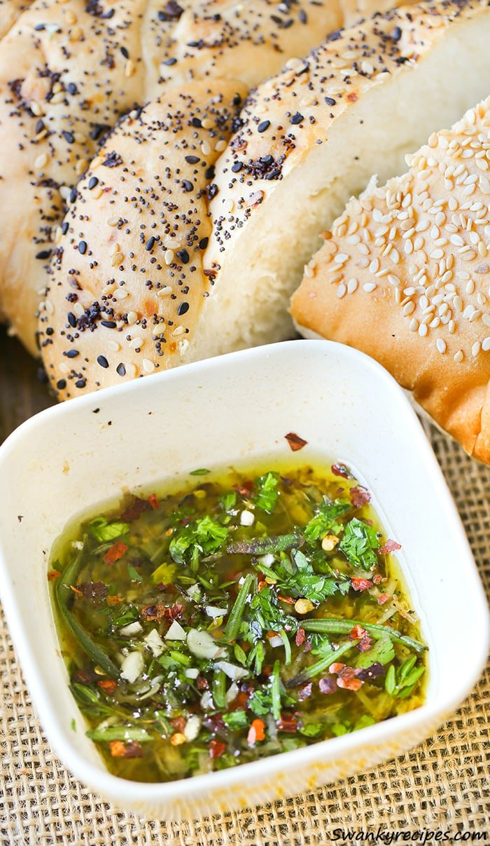 Tuscan Herb Bread Dip - Fresh herbs, spices and Bullucci EVOO make this garden infused dip perfect for Italian night.