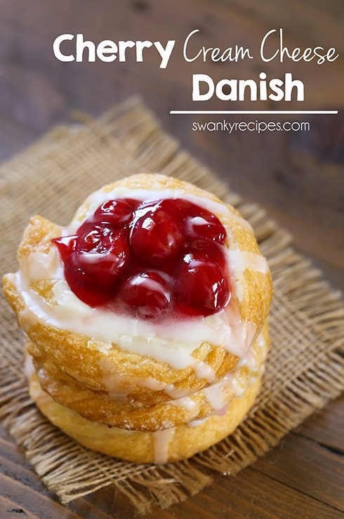 Cherry Cream Cheese Danish - Easy homemade breakfast pastry filled with cream cheese and cherry pie filling. #breakfast #dessert