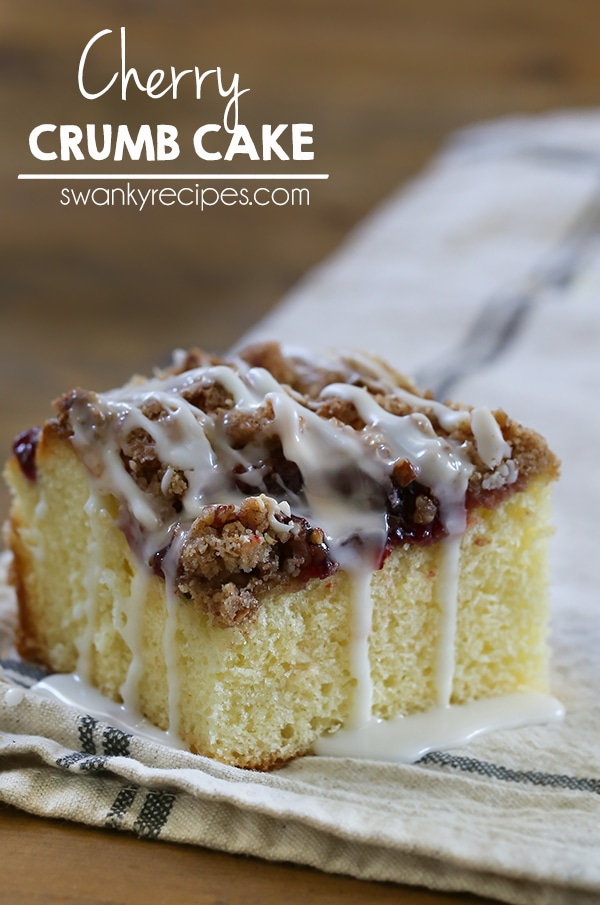 Moist Cherry Crumb Coffee Cake with pecan cherry pie filling, crumble topping and drizzled with icing.  This crumb cake is a favorite for breakfast.   #cake #breakfast
