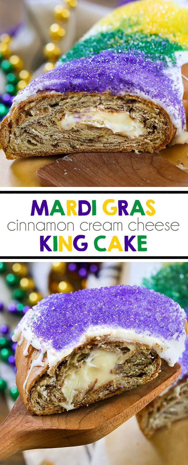 Mardi Gras King Cake - You'll love this homemade New Orleans carnival dessert. Tastes just like a cinnamon roll! #kingcake #dessert #mardigras