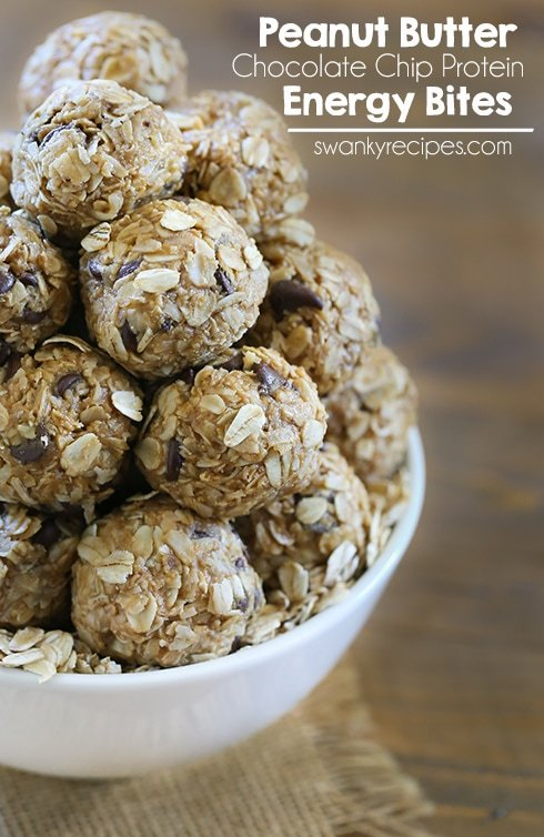 Peanut Butter Chocolate Chip Energy Bites - Loaded with protein for an easy, convenient, and healthy snack option.