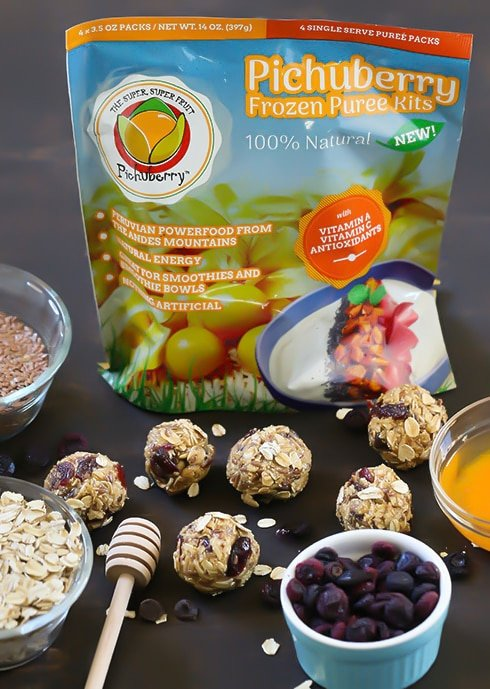 Blueberry Muffin Energy Bites that satisfy hunger. Made with simple ingredients like oats, flax seed, raw honey, cinnamon, cashew butter, dried blueberries and Pichuberry Puree. Serve for breakfast or as a snack!
