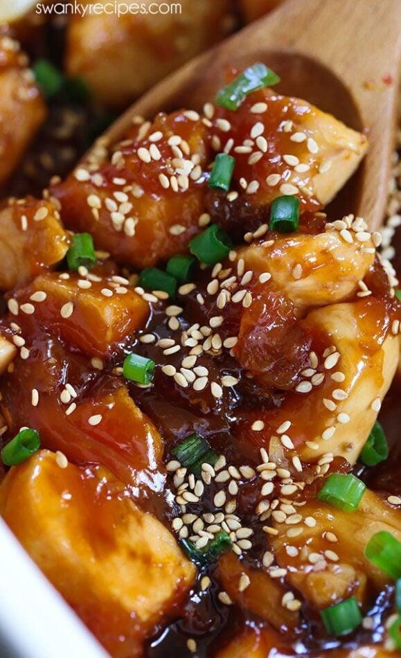 Panda Express Orange Chicken - Easy one pot baked Orange Chicken with amazing Panda Express flavor. #chinesefood #chicken #onepot
