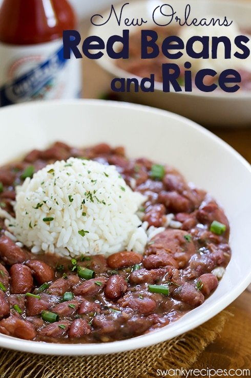 Red Beans and Rice - Creamy, thick red beans seasoned with Creole seasoning. Made with Andouille sausage, and ham. Served with a bed of rice.